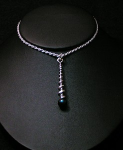 Silver Spiral Pendant with Black Pearl